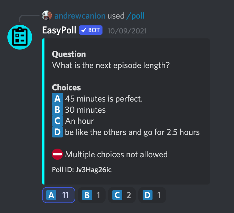 Hemispheric Views Discord poll about episode duration by Andrew